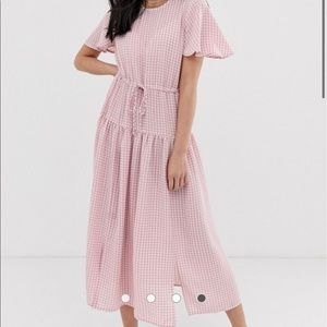 Pink and white checkered dress